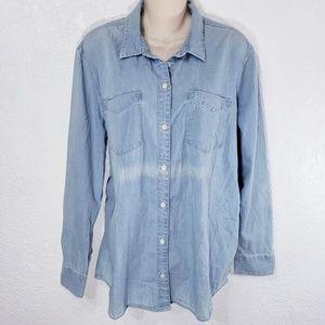 Lucky Brand Denim Shirt Womens XL Button Up D204